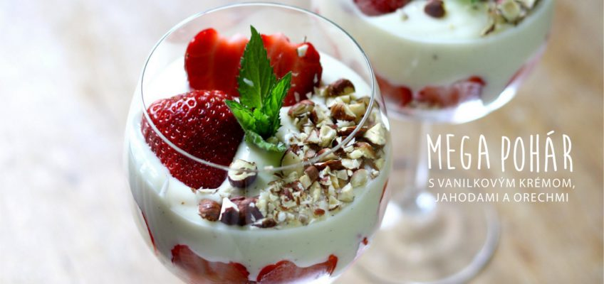 domáci vanilkový krém s jahodami
